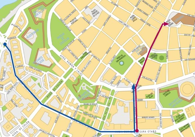 Mapa de los desfiles del Carnaval de Badajoz