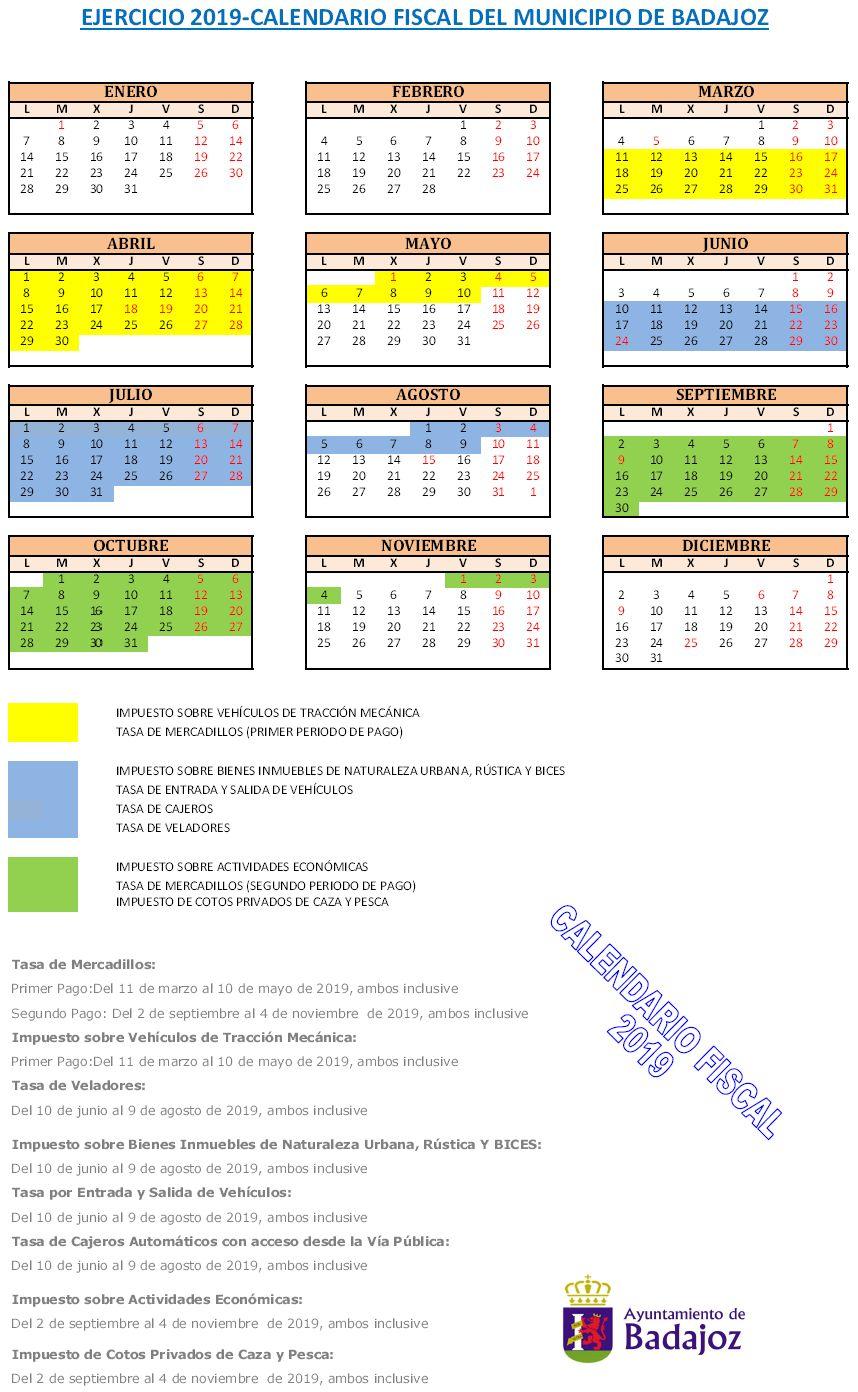 Calendario Fiscal 2019 Espana.Ayuntamiento De Badajoz
