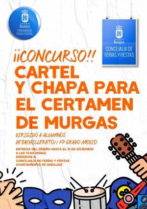 Concurso Cartel Anunciador y Chapa para el Certamen de Murgas del Carnaval de Badajoz