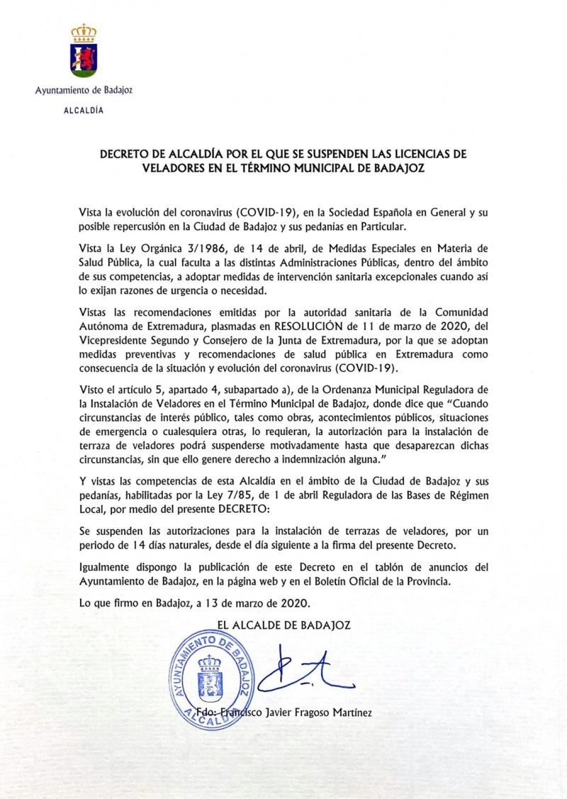 Decreto de Alcald�a por el que se suspenden las licencias de veladores en el t�rmino municipal de Badajoz